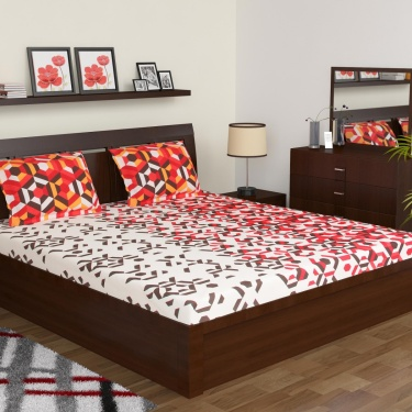 MASPAR Geometric Print Cotton Double Bedsheet Set- Set Of 3 Pcs.