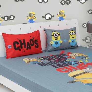 SPACES Minions Double Bedsheet Set- 3 Pcs.