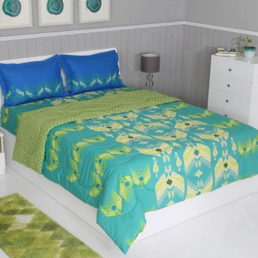 PORTICO Printed Bedding Set with Comforter - 4 Pcs