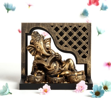 Brit-Renaissance Ganesha Figurine with T-Light Holder