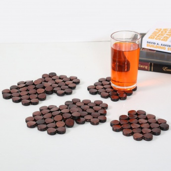 Rivet Bamboo Coaster Set- 6 Pcs.