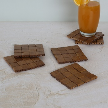 Bamboo Cubes Coaster Set- Pack Of 6 Pcs.