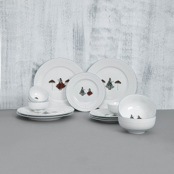 Altius-Regal Printed Bone China Crockery Set- 4 Dinner Plates + 4 Side Plates + 4 Katori+ 2 Serving Bowl
