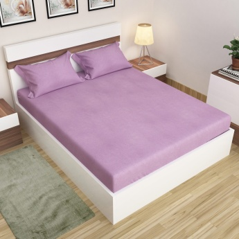 Signature Solid Cotton King-Size Fitted Bedsheet Set