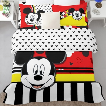 SPACES Mickey Print Double Bed Sheets - Set of 3 Pcs.