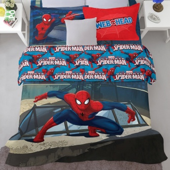 SPACES Spiderman Print Double Bed Sheets - Set of 3 Pcs.