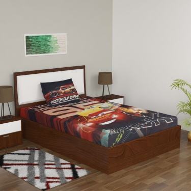 Cars Printed Single Bed Sheet And Pillow Cover