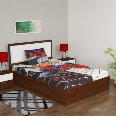 Spiderman Printed Single Bed Sheet Set- Pack Of 2 Pcs.