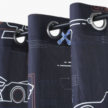 Cars Printed Cotton Single Door Curtain