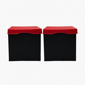 Sanderson Solid Square Sit-And-Store Collapsible Ottoman- Set Of 2 Pcs.