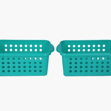 Shannon Solid Perforated Storage Basket- Set Of 2 Pcs.
