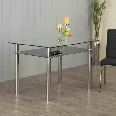Floris Tempered Glass And Stainless Steel Dining Table 4 Seater