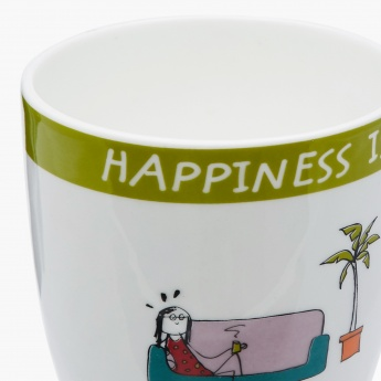 Happiness Printed Round Bone China Mug