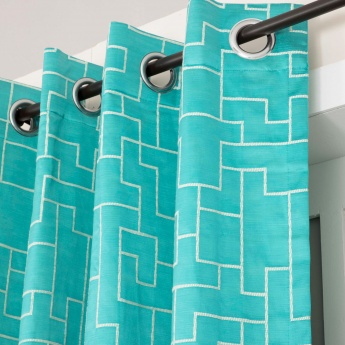 Floss Geometric Design Window Curtain-Set Of 2 Pcs