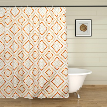 Hudson Diamonds Printed Ring Rod Shower Curtain