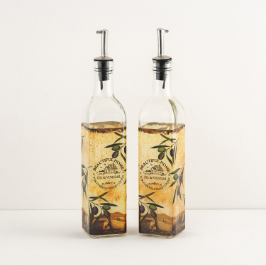 Beautiful Home Printed Oil And Vinegar Bottle