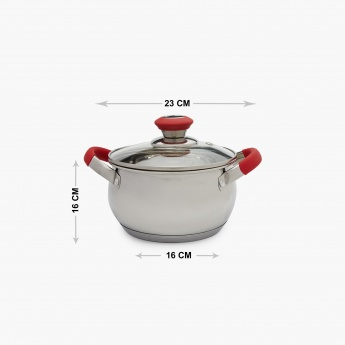 Elite-Magnus Stainless Steel Sauce Pot With Glass Lid