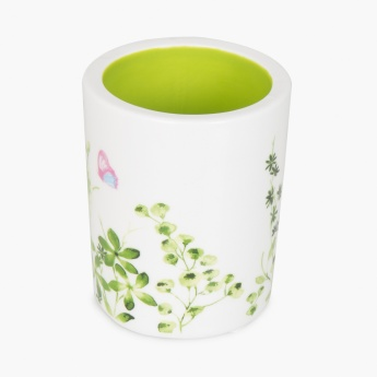 HUDSON RAINFOREST Printed Ceramic Round Toilet Brush Holder