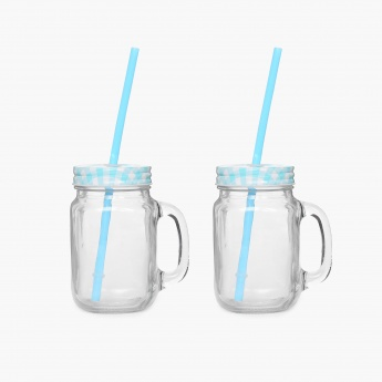 Peroni-Cuba Printed Glass Mason Jar With Straw