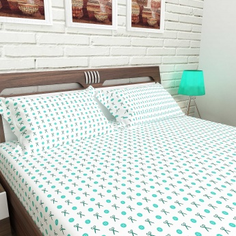 MANDARIN Cotton Printed King-Size Bedsheet And Pillow Covers-1+2