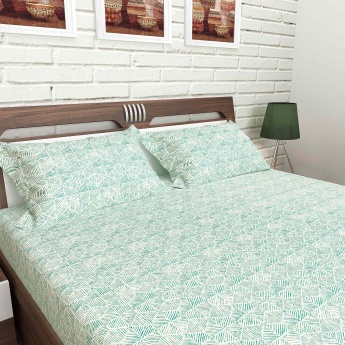 MANDARIN Cotton Printed Double Bedsheet And Pillow Covers-1+2