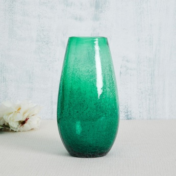 Splendid Sherlyn Textured Round Glass Crackle Vase