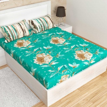 MATRIX Printed Cotton King-Size Double Bedsheet And Pillow Covers- 1+2