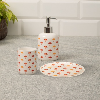 Addison Printed Stoneware Bath Accessories- Set Of 3 Pcs.