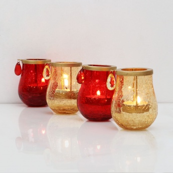 Raga Orchard Crackle Tea Light Holders-Set Of 4 Pcs.