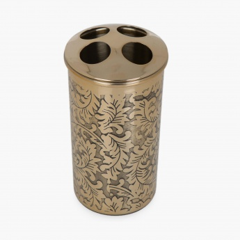 Hudson Stelle Printed Steel Round Toothbrush Holder