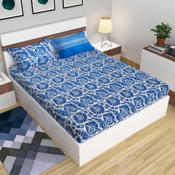 Carnival Flower Printed Fitted Sheet Set Of 3 Pcs Blue Cotton