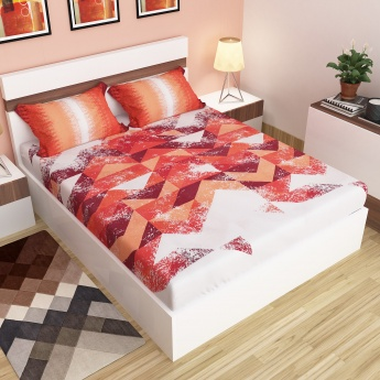 Carnival Modern Printed Cotton Double Bedsheet And Pillow Covers-1+2