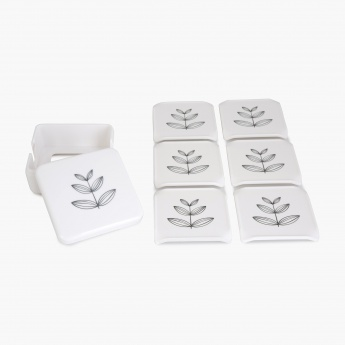 MEADOWS-NORDIC Printed Melamine Coasters With Stand- 6+1