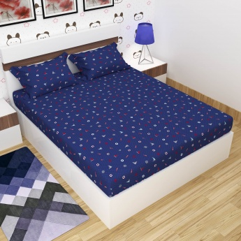 Adventure Of U-Tron Printed Double Bed Sheet-Set Of 3 Pcs.