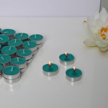 Luminescent Wood & Earth Round Tealight Candles-Set Of 50 Pcs.