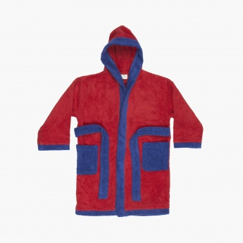 ADVENTURES OF U-TRON Solid Cotton Kids Hooded Bathrobe