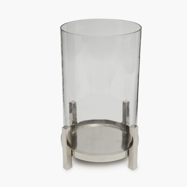 Selena Glass Hurricane with Metal Stand
