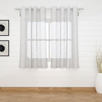Marshmallow Burntout Geometric Semi Sheer Window Curtain-Set Of 2 Pcs.