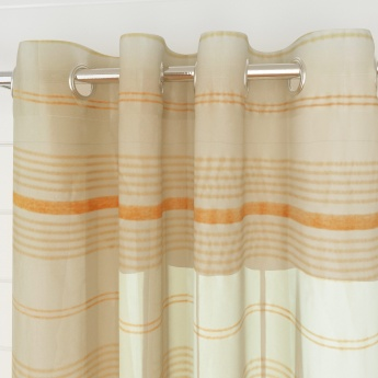 Marshmallow Mistletoe Striped Window Curtains- Set Of 2 Pcs.