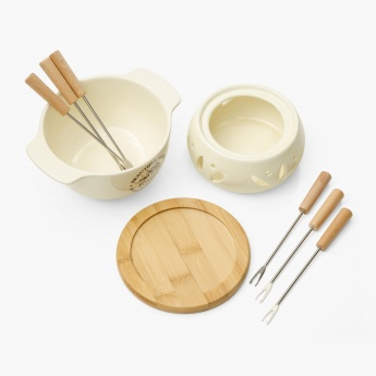 Beautiful Home Ceramic Fondue Set with 6 Forks