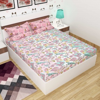 Printed Double Bed Sheet-Set Of 3 Pcs.