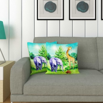 City Goes Wild Printed Cushion Cover-Set Of 2 Pcs.