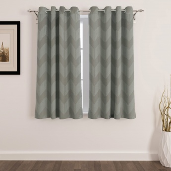 Seirra Fancy Jacquard Semi-Blackout Window Curtain Set - 2 Pcs.