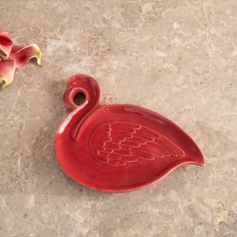 Splendid Ceramic Flamingo Bird Figure Platter