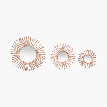 Photomontage Round Wall Decor Mirrors- Set Of 3 Pcs.