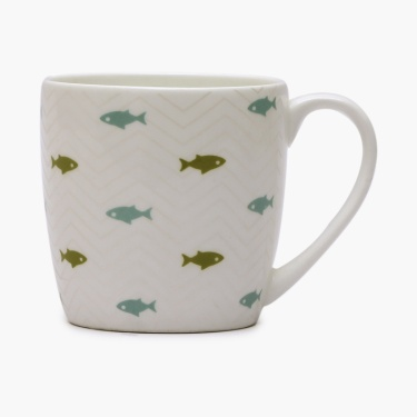 Raisa-Retro Fish Print Bone China Mug