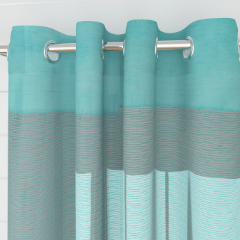 Colour Connect Contemporary Semi Sheer Door Curtain-Set Of 2 Pcs.
