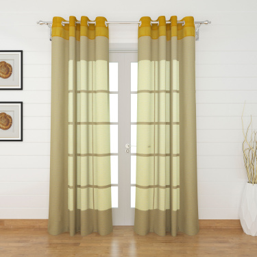 Colour Connect Contemporary Semi Sheer Door Curtain Pair - 110 x 225 cm