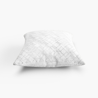 Marshmallow Diamond Embroidered Cushion Cover - 40 x 40 cm