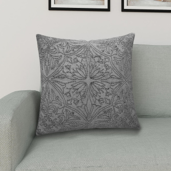 Marshmallow FloralEmbroidery Cushion Cover - 40 X 40 CM